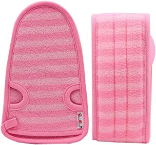 2 Of Soft Bath Mitts Exfoliating Gloves Bath Belts for Female, PINK