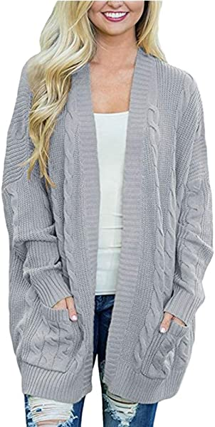 Women S Long Sleeve Soft Chunky Knit Sweater Open Front Cardigan Outwear With Pockets SADUORHAPPY