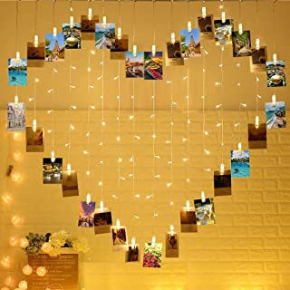 MIRADH 124 Lights Heart Shape Photo Clip String Lights,32 Clip Lights and 92 LED Lights, Decoration for Bedroom Birthday W...
