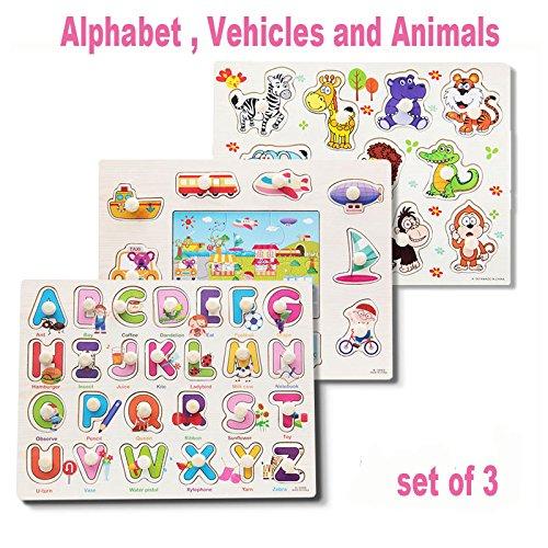 Rompecabezas Puzzles Clásicos Clavijas Madera conjunto de 3 Alfabeto, Vehículos y Animales, para niños pequeños, edad preescolar, piezas Coloridas de perillas de madera, educación simple y aprendiza