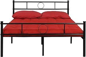Aingoo Lit Double en Métal Design 2 Places Cadre de Structure Métallique Comfort pour Enfant et Adultes 140x190cm Noir