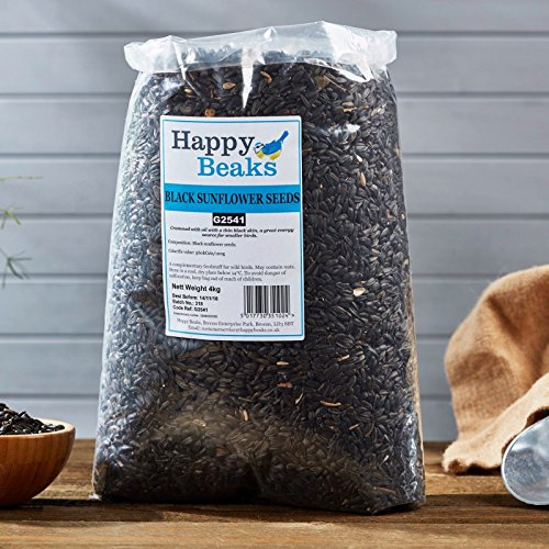 Happy Beaks Black Sunflower Seeds Wild Bird Food (4kg) High Energy and Oil Content Premium Feed