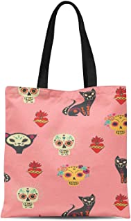 S4Sassy Orange Cat & Skull Tribal Print Canvas Shopping Tote Bag Carrying Handbag Casual Shoulder Bag 16x12 Inches