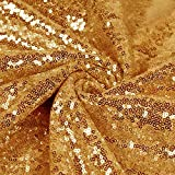 Sequin Fabric Glitter Fabric 3mm Fabric by The Yard Sparkly Fabric Litter Mermaid Fabric Outdoor Glitter Fabric Sequence Material for Dress Clothing Wedding Home Dec. (1 Yard, Gold)