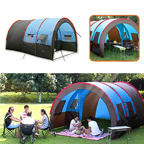 HITSAN Xmund XD-ET4 8-10 Personen Camping Tent Waterdichte Tunnel Dubbele Laag Grote Familie Luifel Zonnescherm Een Stuk