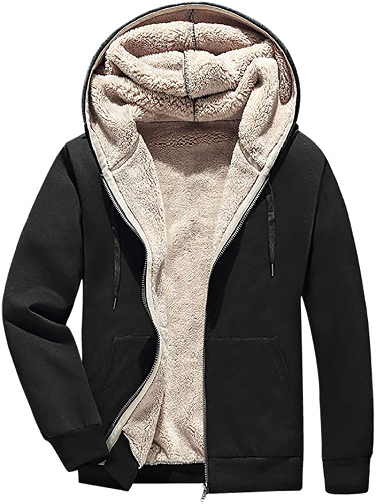 Clearance SALE! Limited time! FASKUNOIE Men's Winter Thicken Sweatshirts Lined Attention brand Fleece Sherpa C