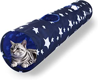 Luckitty Large Cat Toys Collapsible Tunnel Tube with Plush Ball, for Small Pets Bunny Rabbits, Kittens, Ferrets,Puppy and Dogs