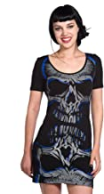 Banned Gothic mini-jurk schedel - Blue Skull dames...