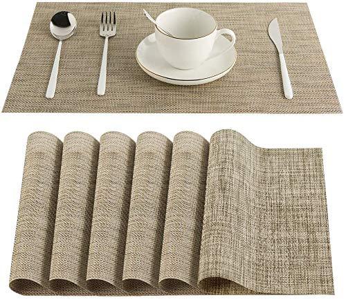 6er 30 x 45 cm Platzsets Platzdeckchen Abwaschbar,Eageroo Anti-Rutsch Tischsets für den Esstisch (Khaki)