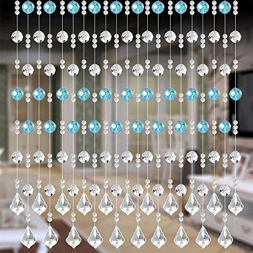 Janly Clearance Sale Cortina de cuentas de cristal de lujo para sala de estar, dormitorio, ventana, boda, decoración del hogar para el día de Pascua (A)