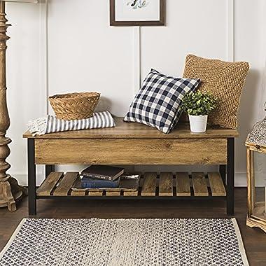 WE Furniture AZ48PCSBBW Open-Top Storage Bench, Barnwood