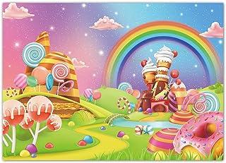 Funnytree Candyland Hintergrund, 2,2 x 1,5 m, Cartoon Lutscher, Regenbogen, Schloss, Kuchen, Geburtstag, Babyparty, Mädchen, Party, Banner, Dekoration, Geschenke, Zubehör, Fotokabine, Requisiten