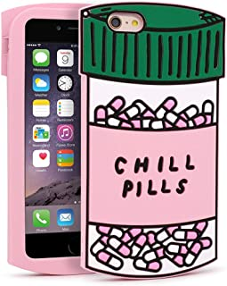 YONOCOSTA iPhone 6 Plus Case, iPhone 6S Plus Cases, Funny Cute 3D Cartoon Chill Pills Capsule Bottle Soft Silicone Full Protection Bumper Case Cover for Girls Kids Lady Women (Pills)