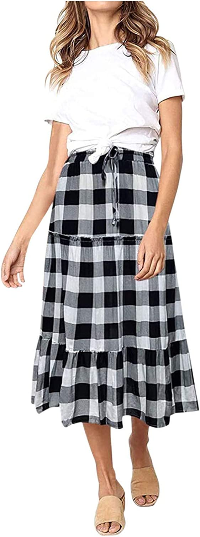 Bohemian Skirt for Women Floral Print Plaid Prints Elastic Waist A Line Maxi Skirt Casual Ruffled Flowy Midi Skirt
