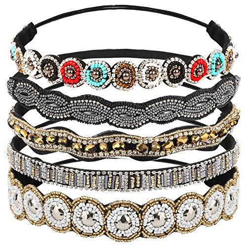 BestFire 5Pcs Rhinestone Headbands for Women, Fashionable Handmade Diamond Elastic Headbands, Crystal Beaded Elastic Hairband for Girls Lady Vintage Jewelry Hair Accessories 20-26.8' (Multicolor)