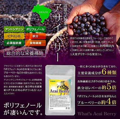シードコムスアサイベリーサプリメント約6ヶ月分180粒ポリフェノールアントシアニン