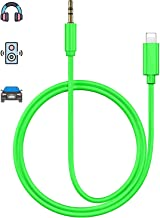 Aux Cord for iPhone X Car AUX Cable 3.5mm Compatible for iPhone Xs/XS Max/X/8/7Plus/6/6s Aux Male Cable Audio Adapter for Car/Home Stereo Speaker & Headphone Whihge Support All iOS [Upgraded] - Green