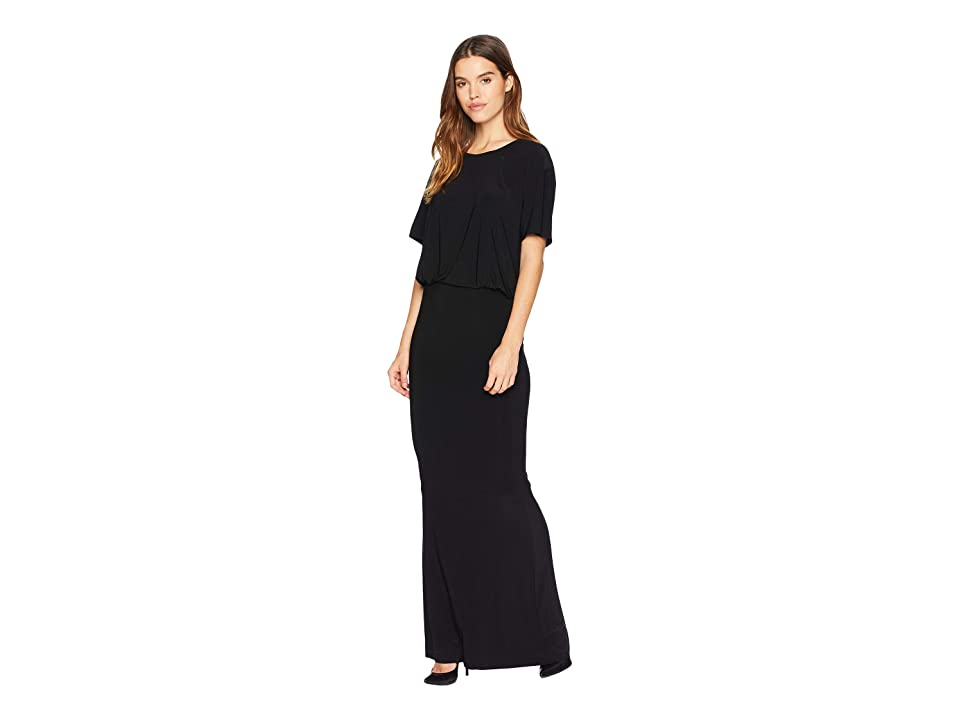 KAMALIKULTURE by Norma Kamali Short Sleeve Boxy Top Fishtail Gown (Black) Women