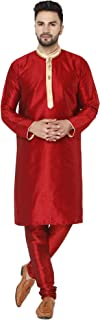 Men's Tunic Art Silk Kurta Pajama Set Indian Ethnic Dress