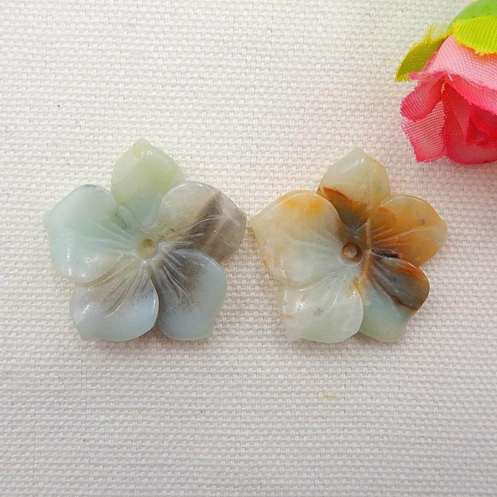 FC-06078 DIY-Jewelry trust Carved Flower Beads Nippon regular agency Amazonite Woman Earring