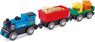 Hape Battery Powered Engine Set | Colorful Wooden Train Set, Battery Operated Locomotive With Working Lamp
