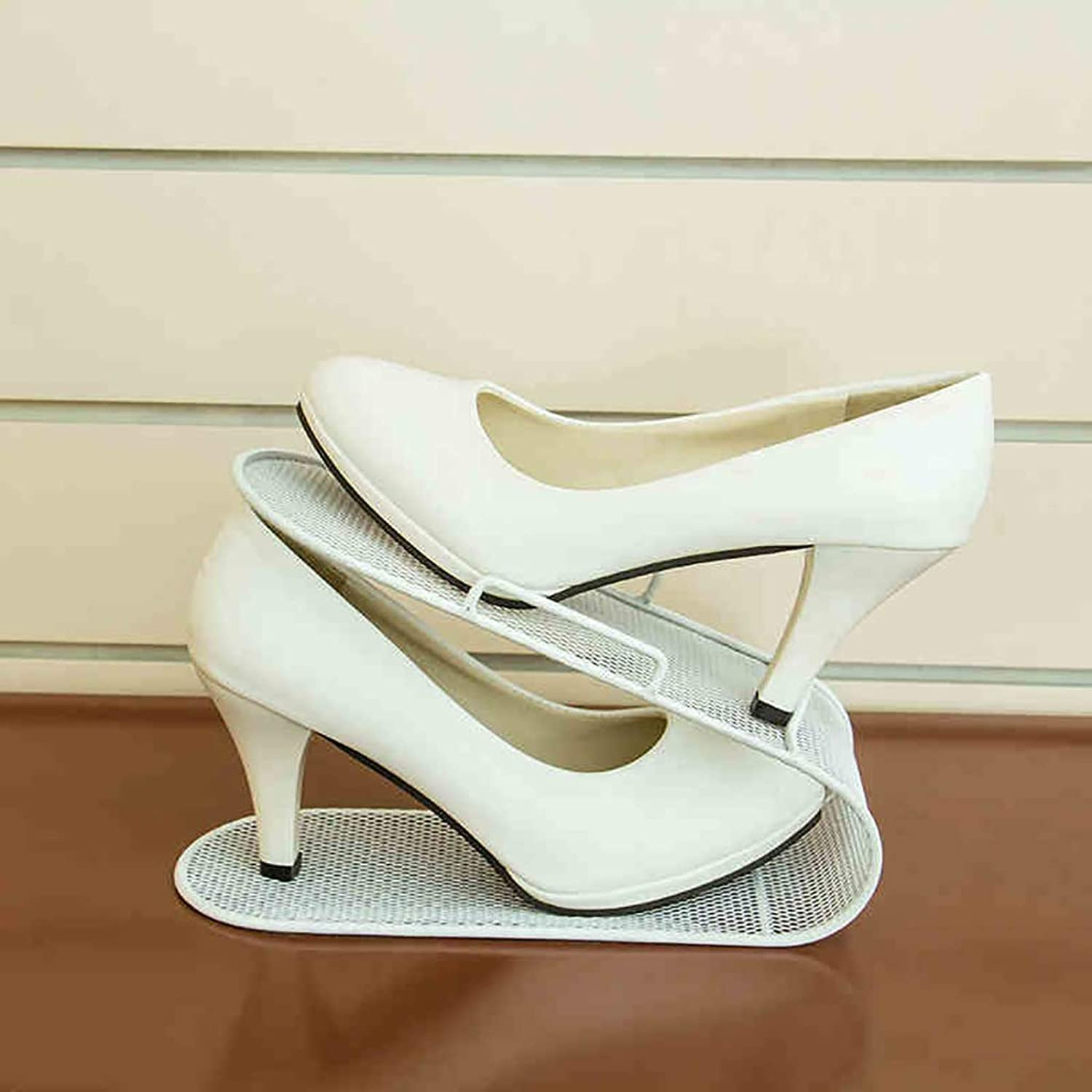 Pack of 5 shoes Rack shoes Store Display Stand Finishing Rack shoes Cabinet Finishing shoes Care Storage Shelf Double Layer Iron Art (color   A)