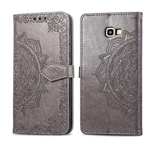 Bear Village Hülle für Galaxy J4 Core, PU Lederhülle Handyhülle für Samsung Galaxy J4 Core, Brieftasche Kratzfestes Magnet Handytasche mit Kartenfach, Grau