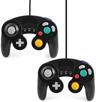 QUMOX 2 X black wired classic controller joypad gamepad for nintendo gamecube gc & wii (Turbo Slow Feature)