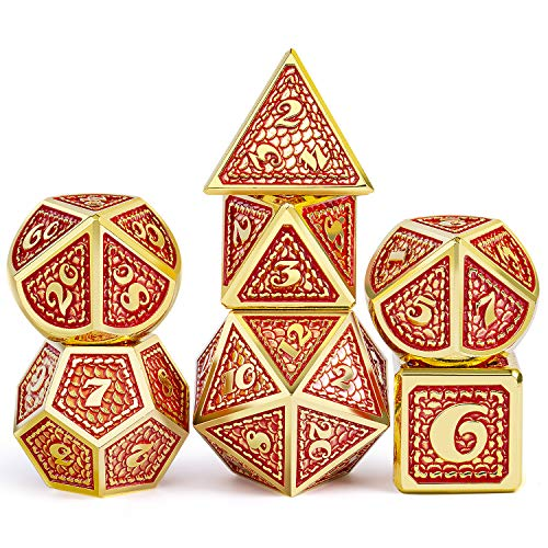DNDND Metal Gaming Dice, 7 PCS Red Dragon Scale Metallic DND Die with Velvet Pouch for Dungeons & Dragon D&D Game (Red with Gold Edge)