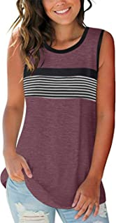PRETTODAY Women's Round Neck Tank Tops Casual Striped Sleeveless Shirts Loose Blouses