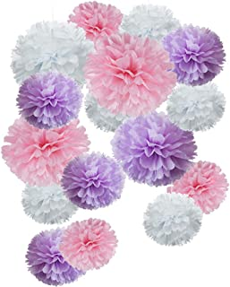 Paper Flower Tissue Pom Poms Baby Shower Party Favors (pink,purple,white,18pc)