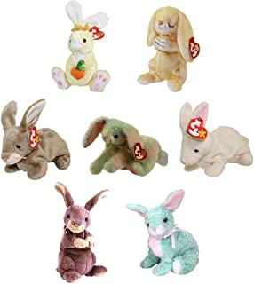 TY Beanie Babies - SET OF 7 BUNNIES (Nibbly, Nibbler, Cottonball, Grace, Spring +2)(5-8 inch)