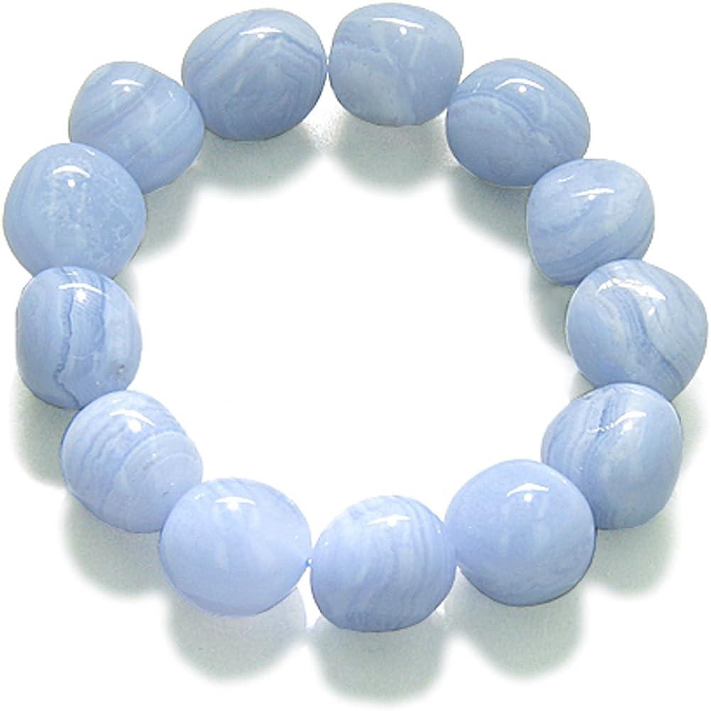 Amulet Healing Blue Lace Agate Tumbled Crystals Gemstone Bracele