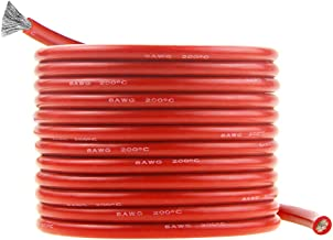 Silicone Wire 8 AWG Red 16 feet 5M Ultra Flexible 8 Gauge Tinned Copper Conductor Electric Wire Cable