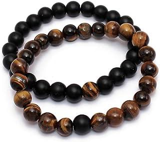 2 Pcs Set Lava Rock Bracelet Stone Tiger Eye Bracelet Stress Relief Yoga Beads Adjustable Bracelet Anxiety Aromatherapy Es...