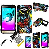 For Samsung Galaxy J3 / Samsung Galaxy Amp Prime / Samsung Galaxy Express Prime /ITUFFY 3items: Screen Film+Stylus Pen+Dual Layer Shockproof Hybrid Armor KickStand Case (Color Monarch Butterfly Black)