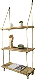 Boutiquemall Swing Rope Floating Shelves, Farmhouse Rope Hanging Shelves for Bedroom Living Room Bathroom (3 Tier, with White Cotton Rope)