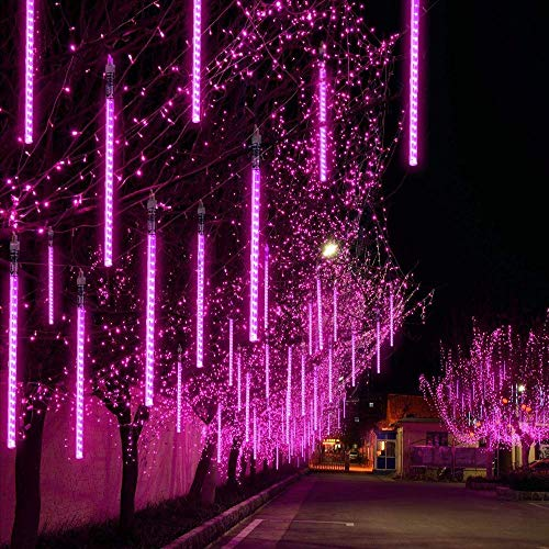 EEIEER Meteoros Lluvia Luces LED, 30cm 8 Tubos 192 LEDs Lluvia de Meteoritos Cadena de Luces Impermeable Guirlandas Luces para Fiesta, Boda, Navidad, Paisaje de la Decoración (Púrpura)