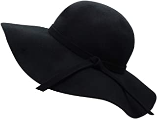 Women's Wide Brim Wool Ribbon Band Floppy Hat