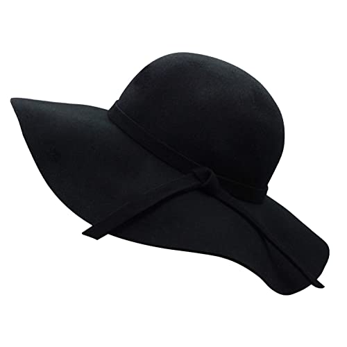 3d9155d8e92 Bienvenu Women s Wide Brim Wool Ribbon Band Floppy Hat