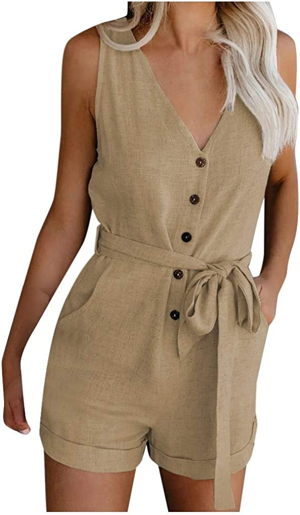 SHOPESSA Womens Rompers Wear to Work Button Down Rolled Hem Jumpsuit Overall Shorts with Belt