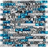 Happybuy Mosaic Glass Tiles 6pcs Glass Backsplash Tiles Teal Blue Marble Wall Tiles 12x12 Inch Glass Mosaic Tile Backsplash, 8mm Glass Tiles for Backsplash, Beach Style Glass Tile for Kitchen Bathroom