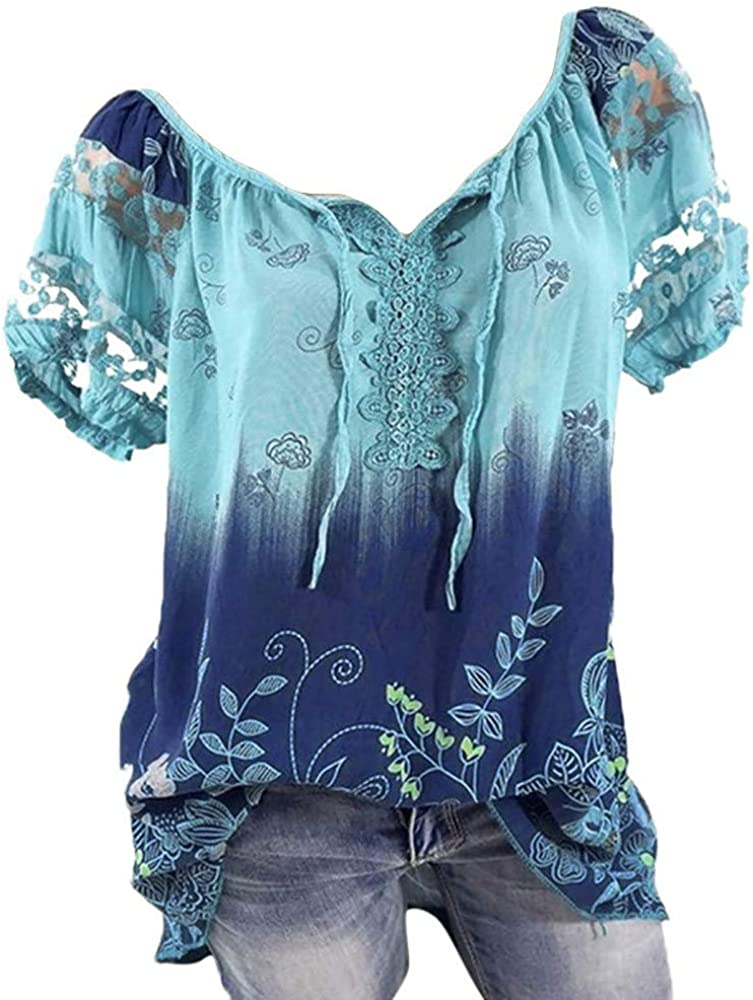 Aukbays Womens T-Shirts Summer Women's Plus Size Tops Short Sleeve Feather Print Shirts Casual Tees V Neck Blouses Tunic