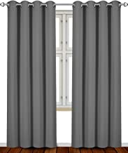 Utopia Bedding Room Blackout Thermal Insulating Window Curtains/Panels/Drapes - 2 Panels Set - 8 Grommets per Panel - 2 Tie Backs Included (Grey, 52 x 84 Inches with Grommets)