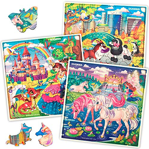 Wooden Jigsaw Puzzles for Kids Ages 4-8, 3 Pack Puzzles, Wood Toys for 4 5 6 Year Old Girls with Princess Unicorns Animals, Almost 100 Pieces Set, Educational Toddler Toys for Girls Age 3-4