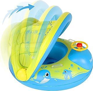 Peradix Flotador Bebé con Asiento, Flotador para Bebe Piscina Respaldo con Sombrilla y con Altavoz pequeño, Barca Bebé de Piscina para 6-36 Meses Bebé y Niños (Amarillo)