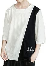 Men's Linen Seven-Quarter Sleeve Shirts Summer Casual Embroidery Color Collision T-Shirt Top Blouse Beautyfine