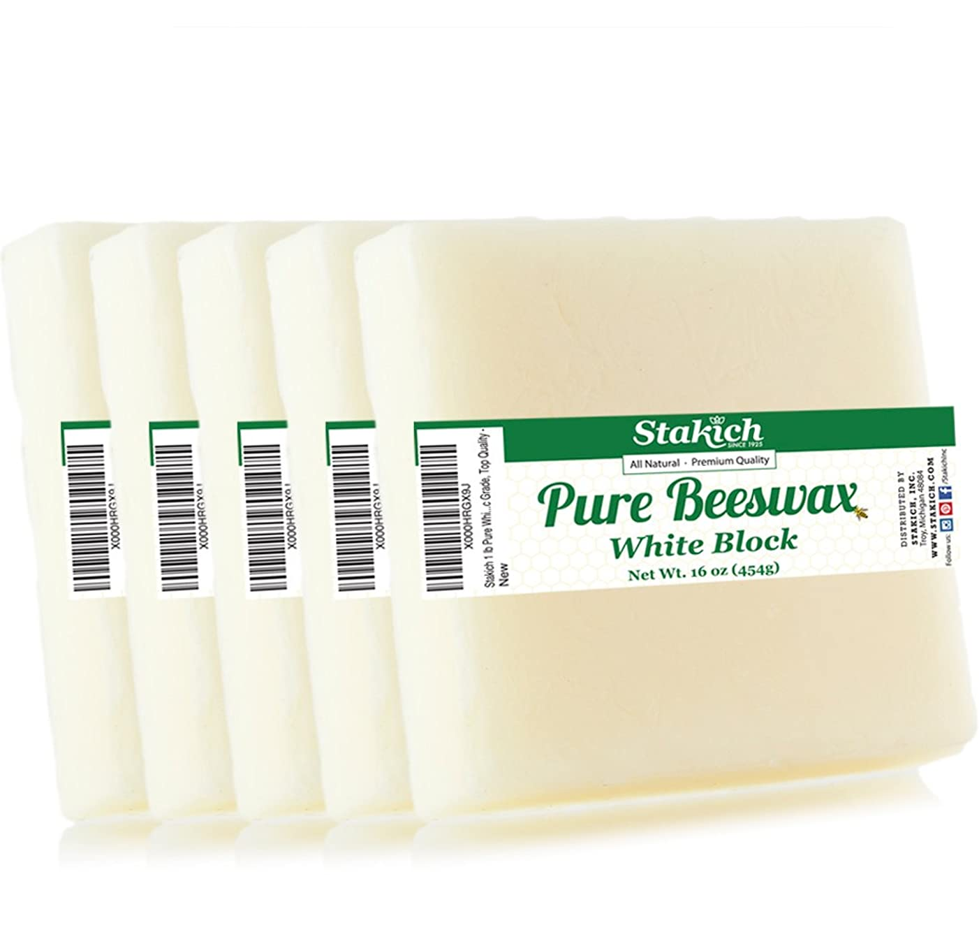 Stakich Pure White BEESWAX Blocks - 100% Natural, Cosmetic Grade, Premium Quality - 5 lb (in 1 lb blocks)