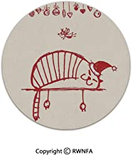 Non-Slip Feet Luxury Round Area Rugs,Fun Cat Sleeping with Hat and Little Fairy Hanging Xmas Ornaments Art Style 6' Diameter Red,for Living & Bedroom Floor Mat Home Decor