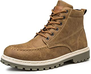 JIANFEI LIANG Men's Combat Ankle Boots High Top Work Shoes Lace up Motorcycle Lug Sole Vegan Round Toe Flat Synthetic Leather Non-slip Casual (Color : Gray, Size : 43 EU)